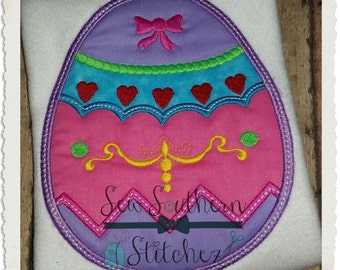 Fancy Decorated Easter Egg Applique Design ~ Instant Download