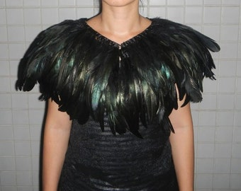 double layer Black rooster coque feather Collar Shrug Cape
