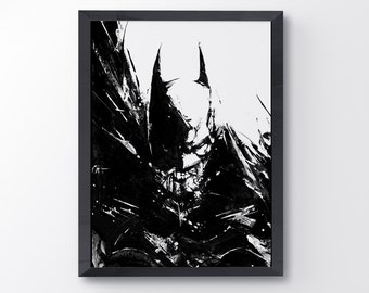 Batman Dark Knight movie poster, acrylic painting, black and white art, art print, Batman Poster, Dark Knight Poster, Dark Knight Rises