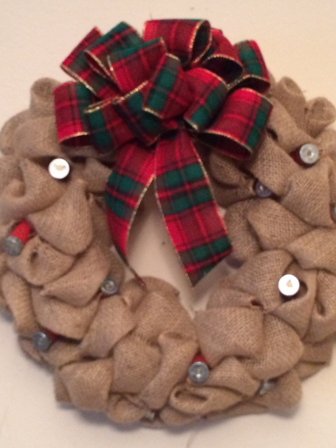"16"" Burlap and shotgun shell christmas wreath"