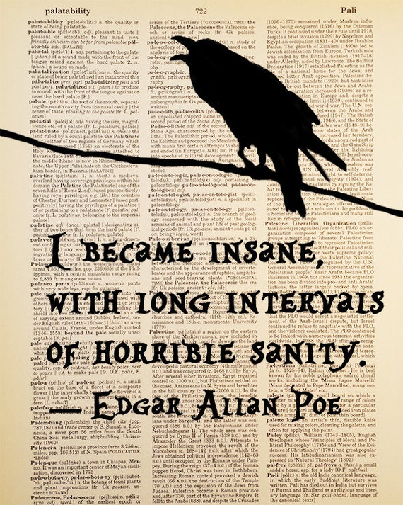 i became insane edgar allan poe quote dictionary art print i became insane edgar allan poe quote dictionary art print vintage antique book page dictionary paper dark decor unique gift bird art