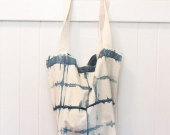 Shibori large check canvas tote
