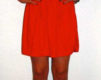 Bright Red, 80s cinched waist dress