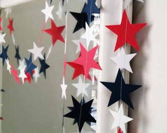 Star Garland - custom colors, Christmas garland, party decor, red, white and blue garland, birthday, home decor