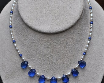 Blue Tear Drop and White Freshwater Pearl Necklace and Earring Set