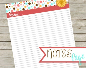 Printable Notes Page