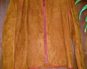 Vintage 70's Rust Suede Jacket with Contrast Red Cording, Fully Lined