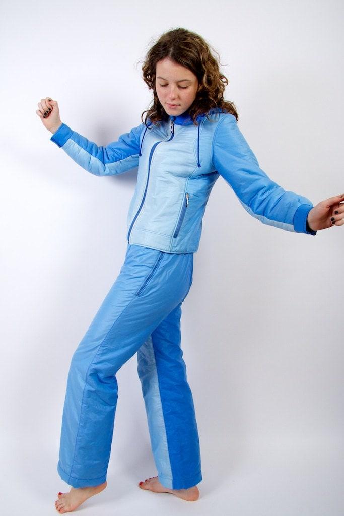 90' Ski Suit Blue Slalom Ski Overalls Hipster Snow Pants