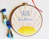 Hello Sunshine Hoop Art. Embroidery Hoop Art. Needlepoint. Hand Embroidery. Home Decor. Wall Art. Fabric Art. Wall Hanging. Stitched Art.