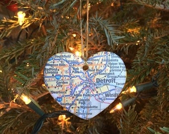 Detroit Map Ornament