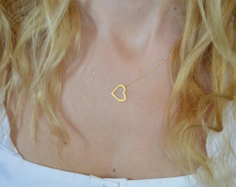 Mother's day gift heart necklace,10kt heart pendant, 14kt heart necklace,Heart necklaces,Women's heart gifts,Anniversary gift,love mecklace,