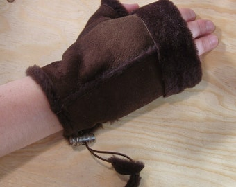 Womens lambskin leather fingerless gloves Brown zipper