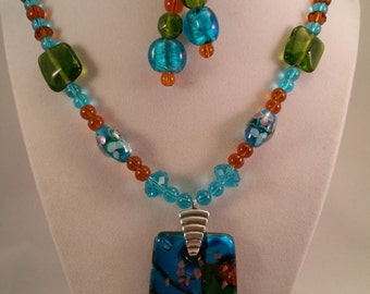 """Blue """"Stained-Glass"""" Effect Pendant Necklace with Earrings Set"""