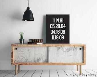 Special Dates Print, Custom Gift, Birthday Keepsake Decor, birth dates print, keepsake gift, custom dates print, anniversary gift