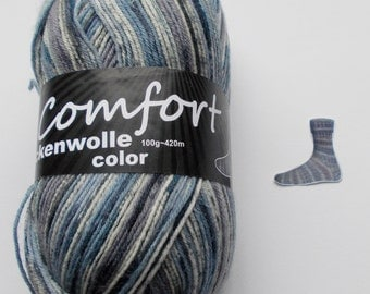 sock yarn, blue-lightgray, 4ply (214.05)