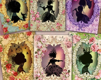 Victorian Silhouettes Digital Collage Sheet + FREE Gift Tags / Download  Note Cards, Scrapbooking, Shabby Chic Greeting Cards, Journaling
