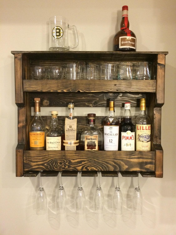 Wood wine and or liquor shelf rack pallet wood rustic for Wine bottle shelf diy