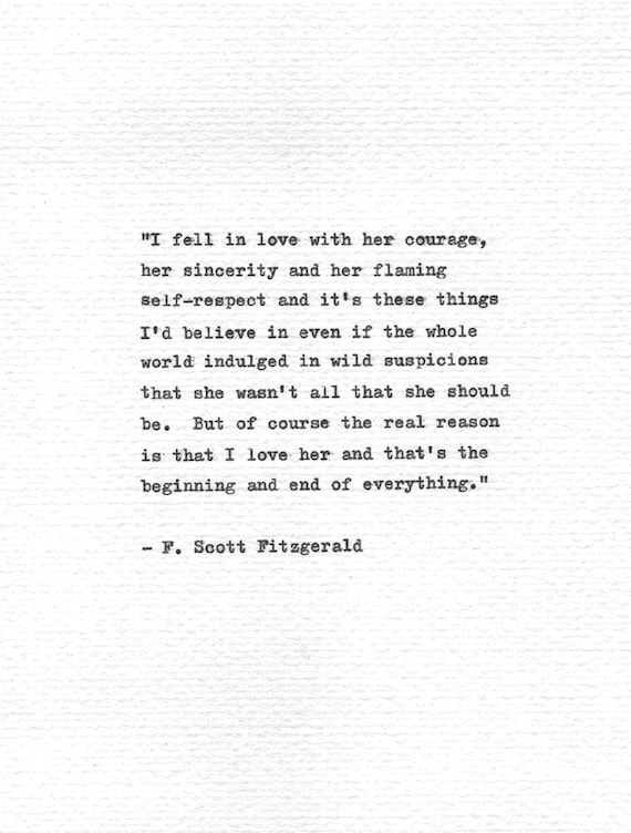 F Scott Fitzgerald Love Quote Awesome Fscott Fitzgerald Letterpress Quote I Fell In