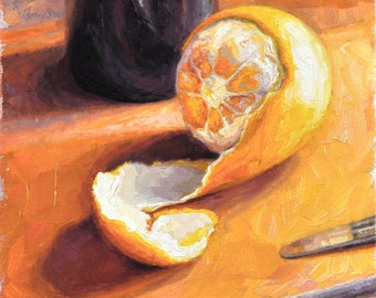 Original Still Life Oil Painting of Peeled Orange, 'Scalped,'  Framed