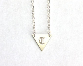 Personalized Triangle Necklace - Sterling silver minimalist triangle necklace, initial triangle, handstamped initial necklace
