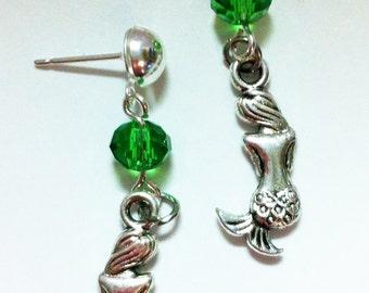 Mermaid Earrings Tibetan Silver Charms Dangles Swarovski Crystal Stainless Steel Post Silvertone