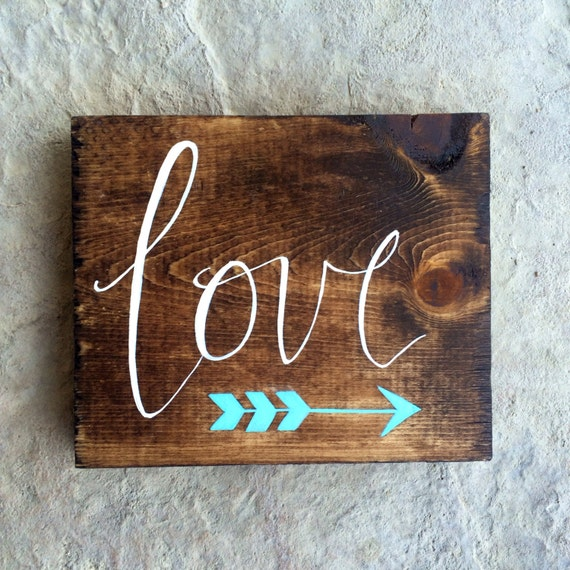 Custom Small Hand Painted Wooden Love Sign With by ...
