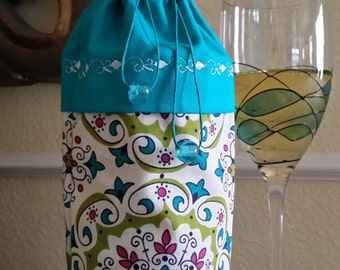 Deluxe Wine Bag-Whimsical Collection (Turquoise)