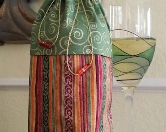 Deluxe Wine Bag-Glitter Collection (Green n' Gold Swirls n' Multi Stripe)