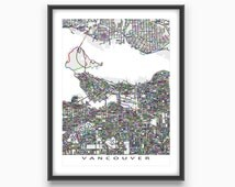 Vancouver Art Print, Vancouver Map, Vancouver BC Street Map, Canada