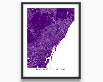Barcelona Map Art Print, Barcelona Spain, European City Street Maps