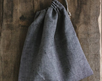 Linen Laundry Bag / Natural linen / Bluish-Grey Laundry Bag