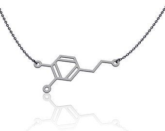 Dopamine molecule necklace - chemistry jewelry, chemistry necklace, science jewelry, minimlaist jewlery