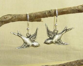Earrings silver SCHWAELBLEIN, swallow earrings, earrings swallows bird birds silver plated small, vintage style handmade