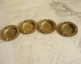 4 vintage brass ashtrays