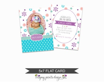 Birth Announcement Card Template - 5x7 Digital Photography Photoshop File - Template for Photographers - NC18 - INSTANT DOWNLOAD