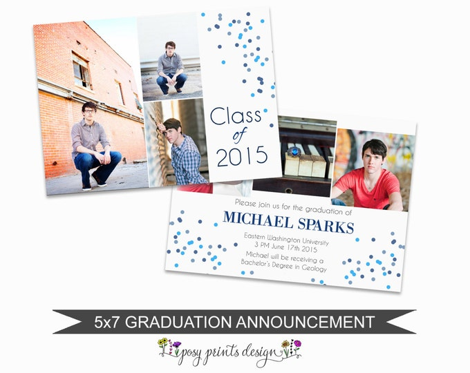Graduation Announcement Template - 5x7 Digital Photography Photoshop Files - Template for Photographers - GC06 - INSTANT DOWNLOAD