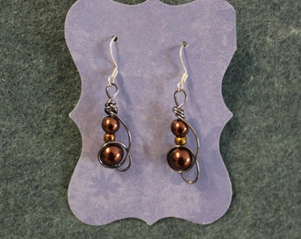 Brown wire wrapped earrings