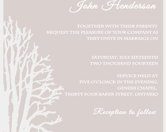 White and Taupe Tree Wedding Digital Invitation