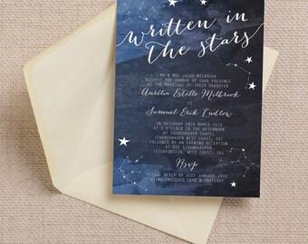 Constellation Stars Midnight Blue Wedding Invitation & RSVP with Envelopes