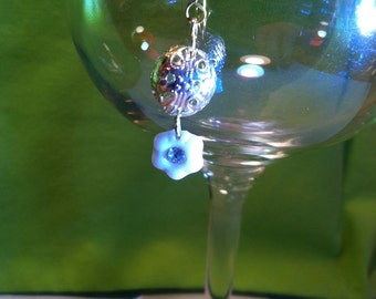 Cute Charm or Miniature Ornament with Vintage White Glass Flower Dangle and Gold Filigree Ball. Pendant & Single Earring Options. Jewelry..