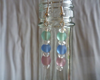 Pastel and crystal dangle earrings