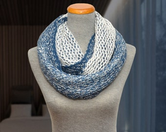 Two-sided knit infinity scarf. Blue-white sparkling knitted scarf (silver sequins).