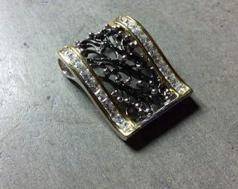 Black and Gold Color Wave Cubic Zirconia and Sterling Silver Pendant