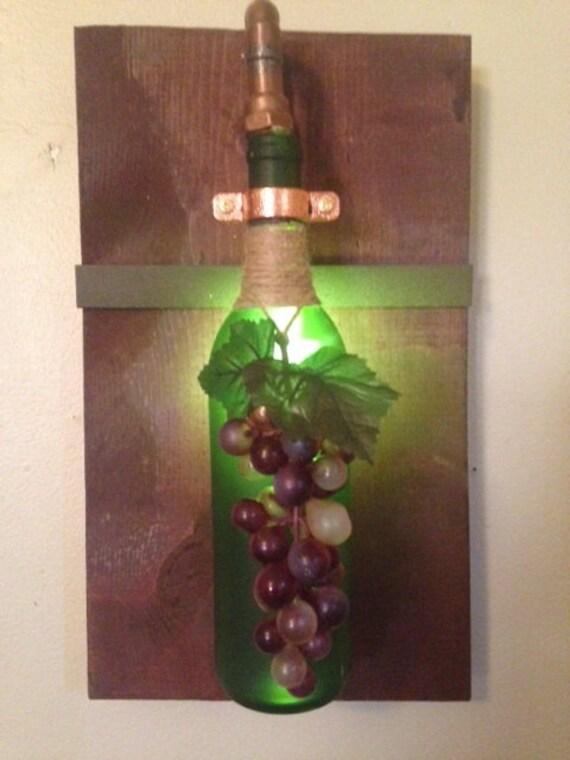 Light up wine bottle wall sconces for Light up wine bottles