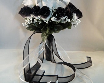 Wedding Bridal Floral Bouquet - Silk Rose Flowers - White And Black/White With Raindrops And Organza / Satin Ribbons (SRWB-001)