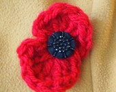 Handmade crocheted remembrance poppy