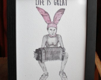 Gummo Rabbit Bunny Boy Harmony Korine A5 Illustration Art Print