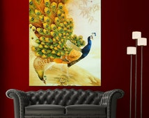 Japanese Peacock Painting Wall Art Canvas Den Giclee Print - Highest Quality Canvas Prints - Not stretched or framed