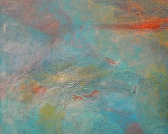 """Abstract painting- """"Gentle touch"""". Acrylic on canvas board. Acrylic painting. Green painting. Orange painting."""