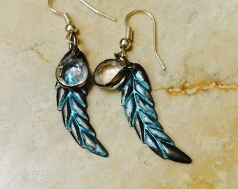Unique Feather Earrings Lightweight Metal crystal charm